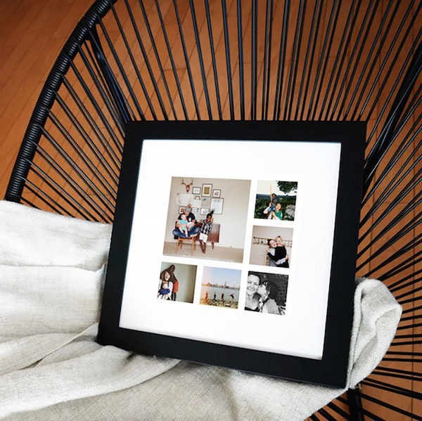 A square photo collage matted and framed black.