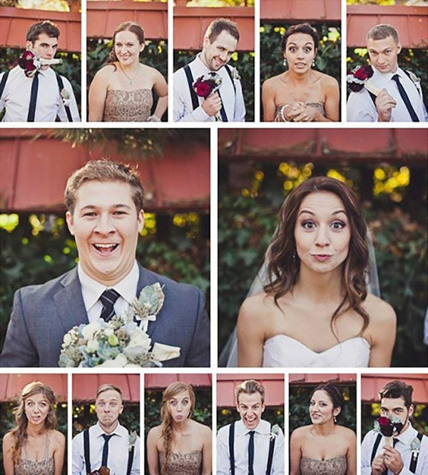 A square photo collage of Bridal party selfies.