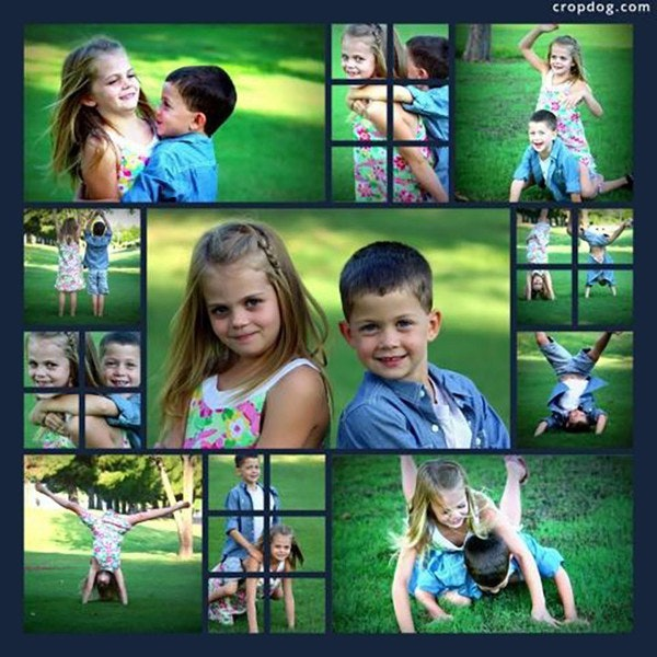 A square photo collage tells the story of a sister and brother playing on grass.