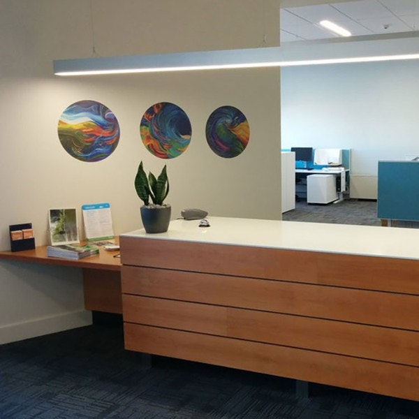 Roselyn's Spun series installed in an office