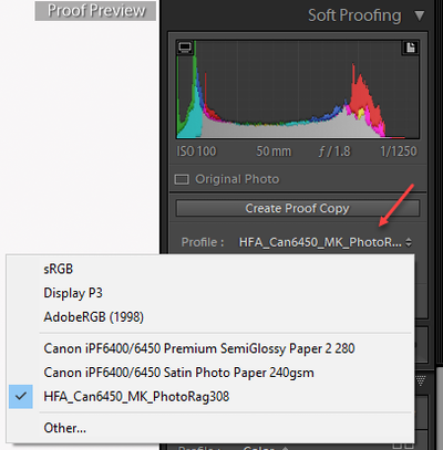 Soft Proofing in Lightroom Step 2