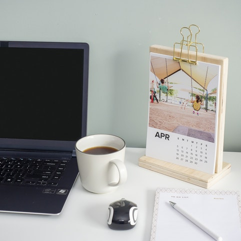 Calendar prints on Silk 300gsm paper, with photo stand (sold separately).