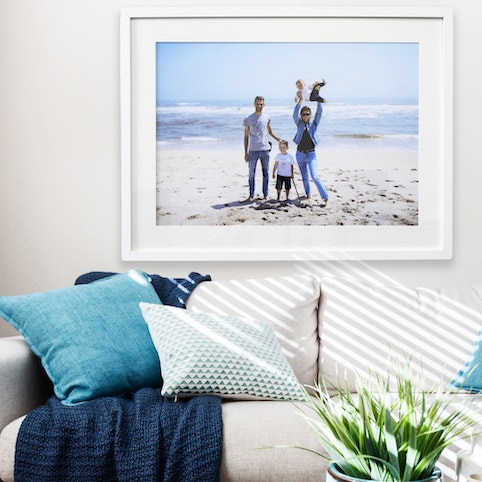 """18x24"""" framed print with warm white mat and white box frame."""