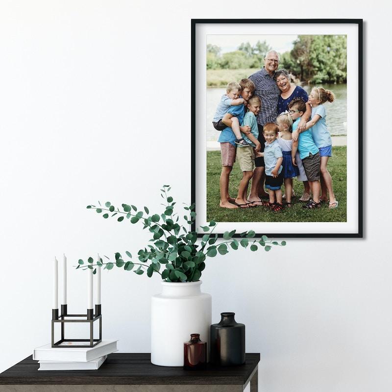Family shot in a black frames