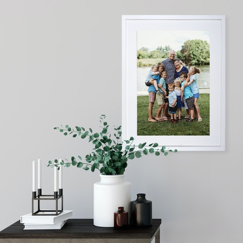 """12x16"""" framed print with warm white mat and white box frame."""