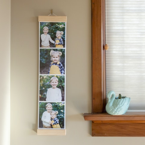15x60cm strip with four 15x15cm photos, hanging by a 15cm wooden hanger (sold separately).