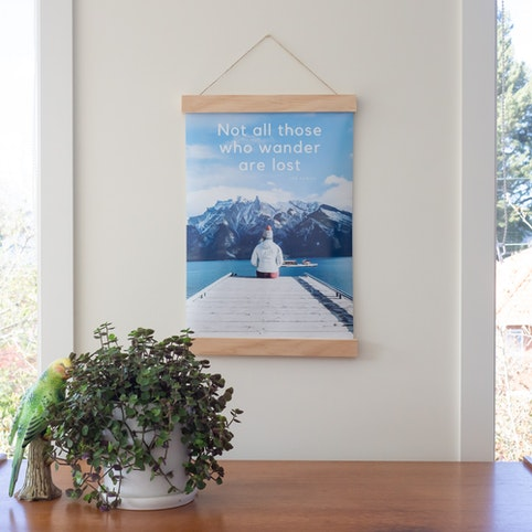 A3 photo print, paired with 45cm wooden hanger (sold separately).