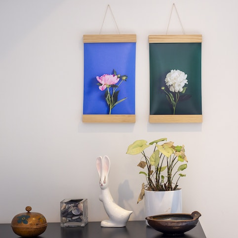 """8x12"""" large format prints, paired with 8"""" wooden hangers (sold separately)."""