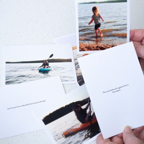 Your favourite photos with your text on the back.