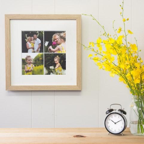 "12x12"" frame with 4 4x4"" photos in an oak woodgrain frame."