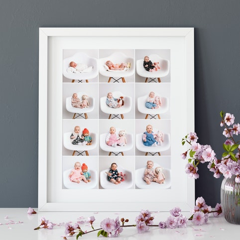 "16x20"" frame with 12 5x5"" photos in a white box frame."
