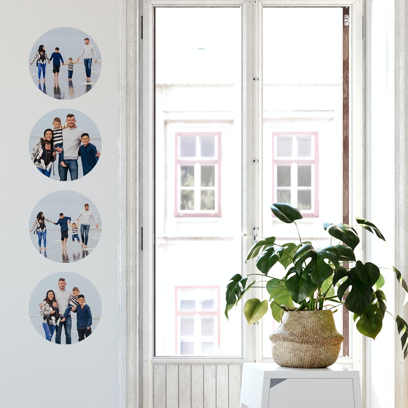 Removable wall dots featuring family photo shot