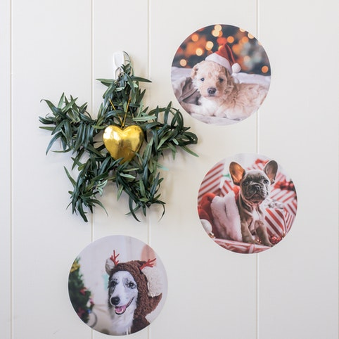 Three 18cm wall decal dots with your favourite photos.